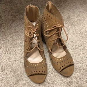 JustFab lace booties (brown)